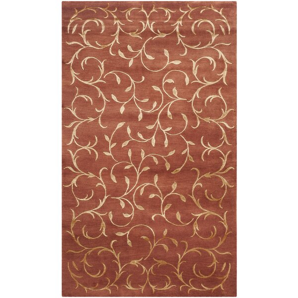 Echevarria Hand-Knotted Rust/Gold Area Rug by Fleur De Lis Living