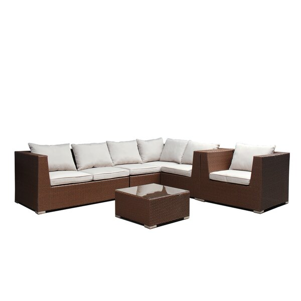 Quincy 5 Piece Sectional Seating Group with Cushions by Highland Dunes