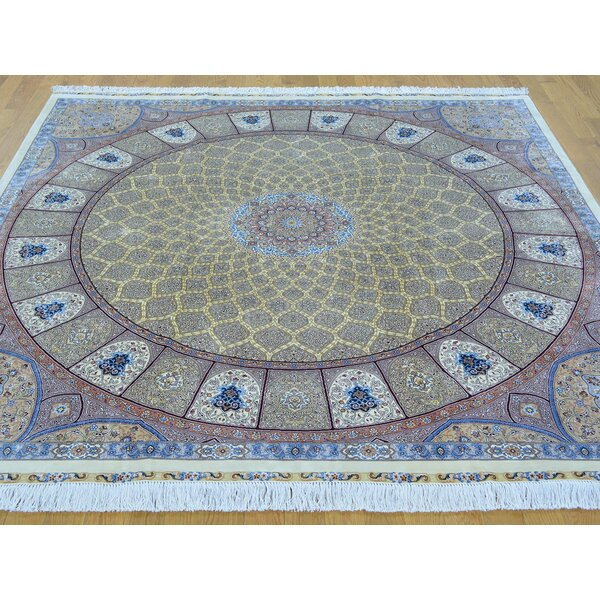 One-of-a-Kind Bollinger Tabriz Gumbad Signed Handwoven Yellow Silk Area Rug by Isabelline
