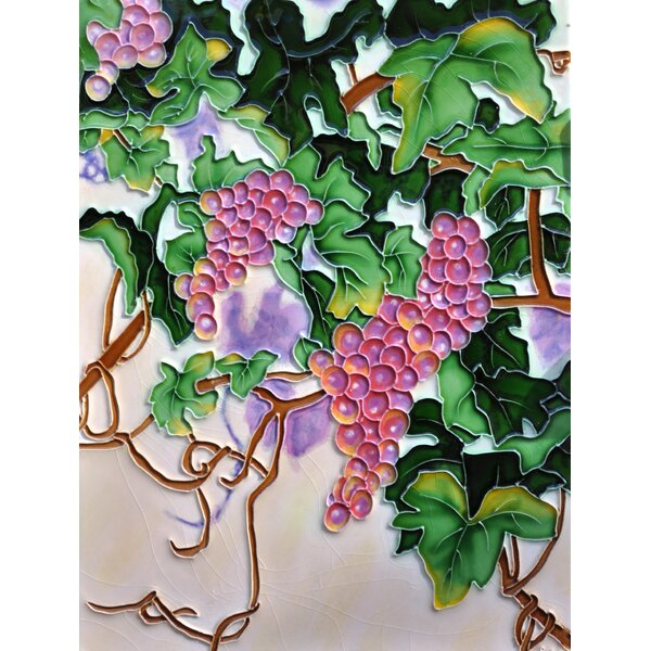 Purple and Green Grapes Tile Wall Decor by Continental Art Center