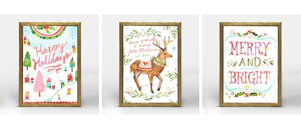 Holiday Merry and Bright by Katie Daisy Framed Pai