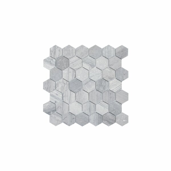 Cooper 1.9 x 2 Marble Mosaic Tile in Wooden Blue by Maykke