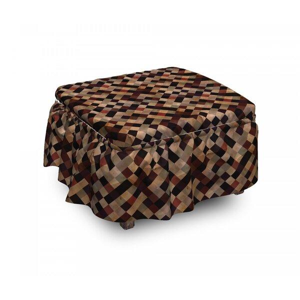 Grunge Toned Grid 2 Piece Box Cushion Ottoman Slipcover Set By East Urban Home