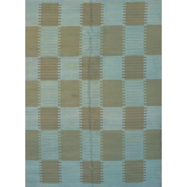 Scandinavian Design Overdyed Hand-Knotted Wool Blue/Beige Area Rug by Pasargad NY
