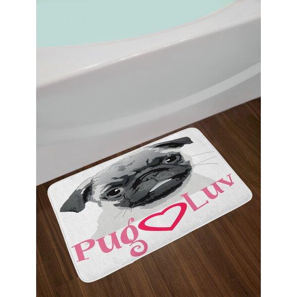 Pug Grey Dark Grey Pink Pug Bath Rug by East Urban Home