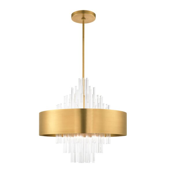 Aguiar 10 - Light Unique / Statement Drum Chandelier with Crystal Accents by Mercer41 Mercer41