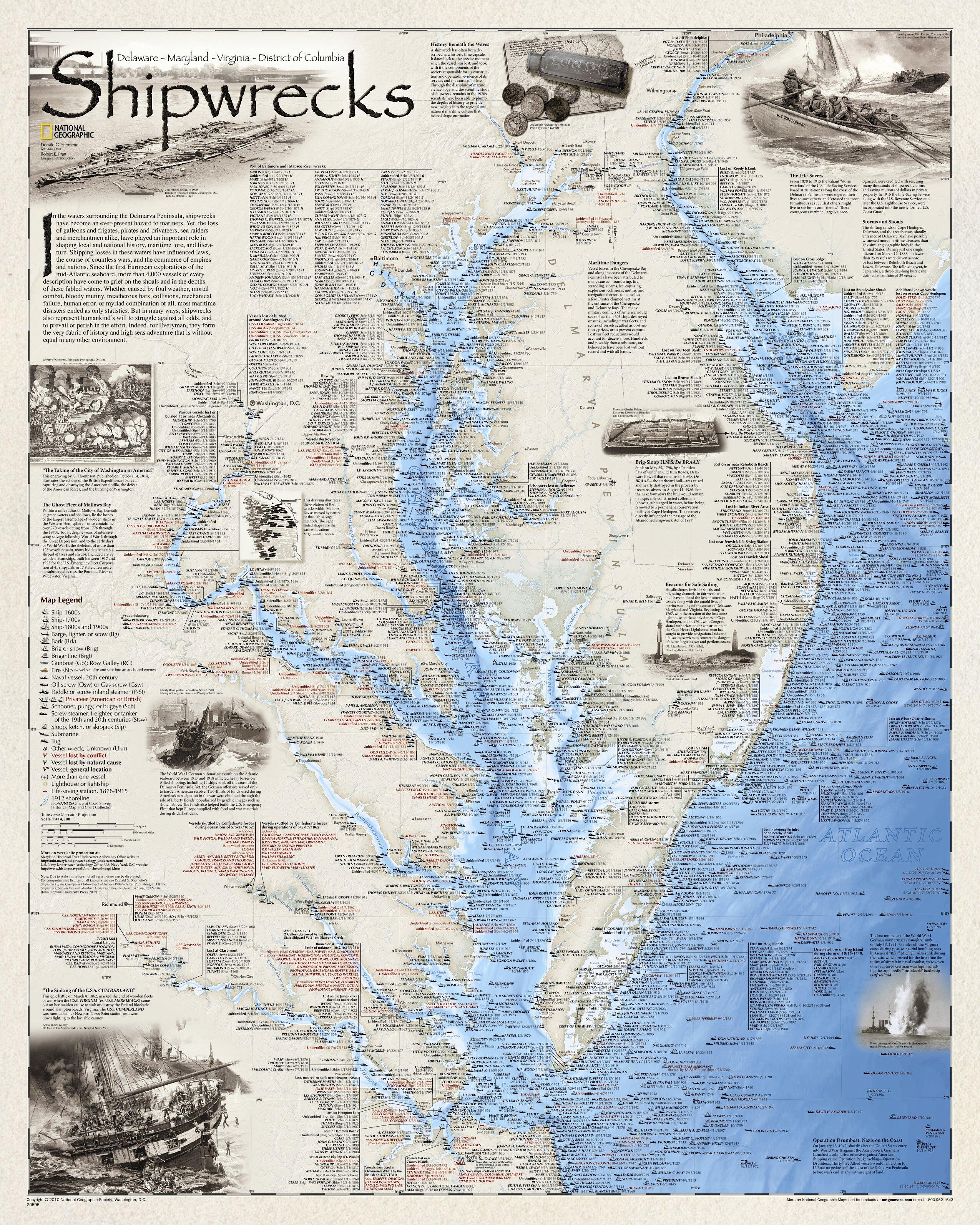 Nautical Art Print Framed Virginia Shipwreck Chart
