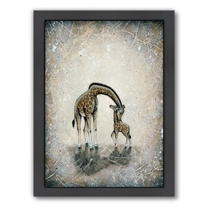 'My Love for You - Giraffes' Framed Painting Print by East Urban Home