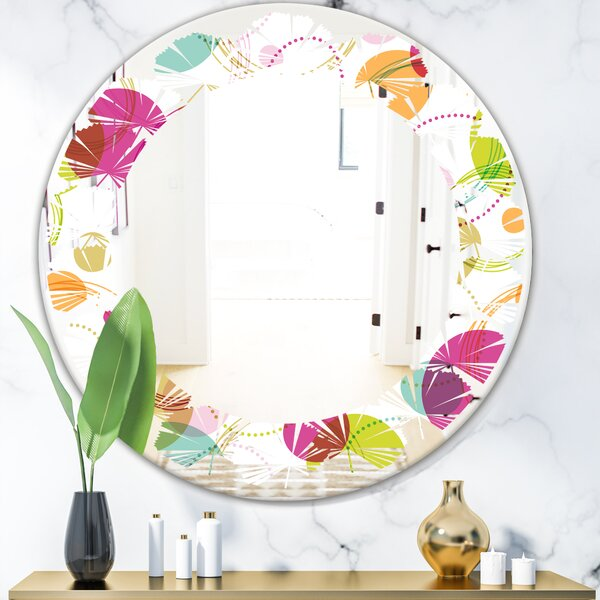 Leaves Circular Design II Cottage Americana Frameless Wall Mirror