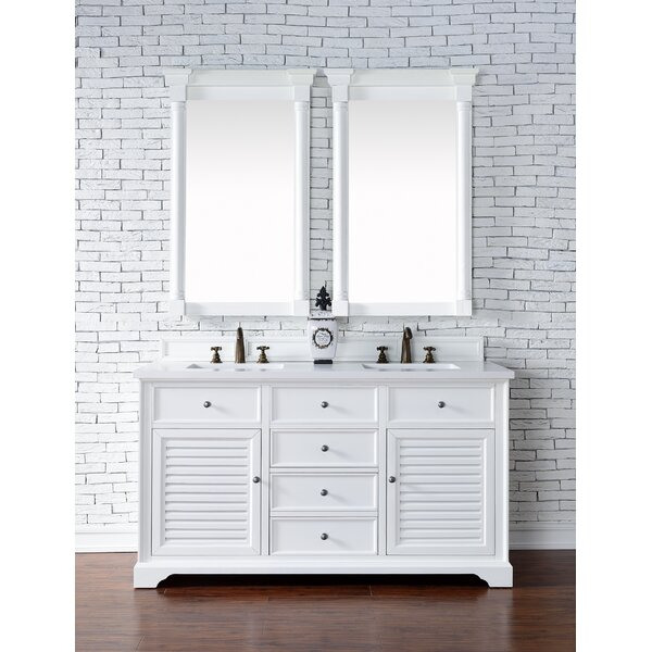 Osmond 60 Double Rectangular Sink Cottage White Bathroom Vanity Set by Greyleigh