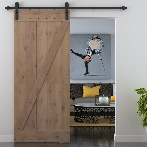 Bent Strap Sliding Door Track Hardware and Z Bar Primed Sliding Knotty Solid Wood Panelled Alder Slab Interior Barn Door by Calhome