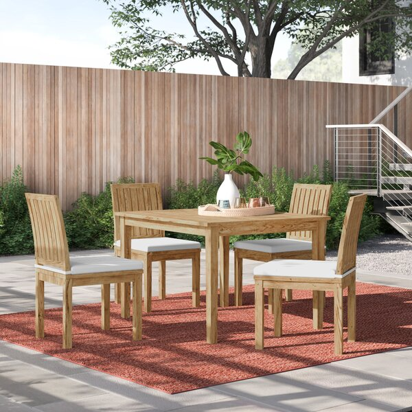Anthony 5 Piece Teak Dining Set with Cushions by Foundstone