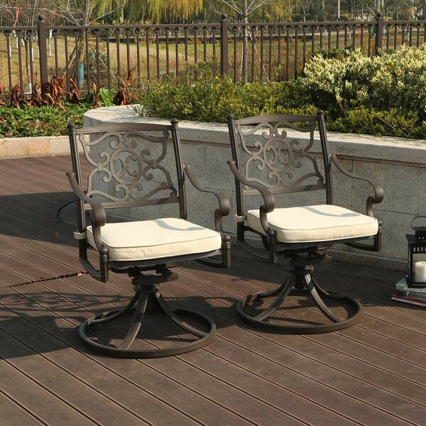 Retro Outdoor Swivel Patio Dining Chair with Cushion (Set of 2) by PHI VILLA