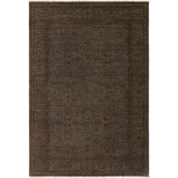 One-of-a-Kind Hidevale Overdyed Color Reform Hand-Knotted Gray/Rust Area Rug by Bloomsbury Market