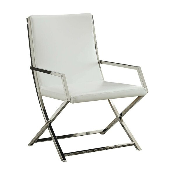 Singh High Backrest Polyurethane Upholstered Metal Armchair by Mercer41