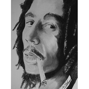 'Bob Marley Be Happy' by Ed Capeau Painting Print on Wrapped Canvas by Buy Art For Less