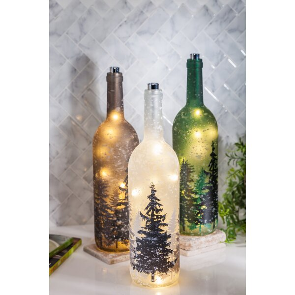 Mauch LED Leg Pine Tree Wine Decorative Bottle (Set of 3) by Millwood Pines