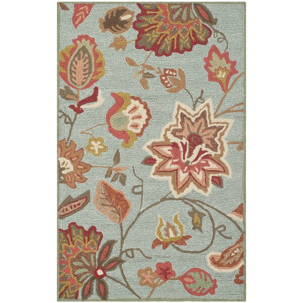Carvalho Hand-Hooked Yellow/Ivory/Blue/Burgundy Indoor/Outdoor Area Rug by Charlton Home