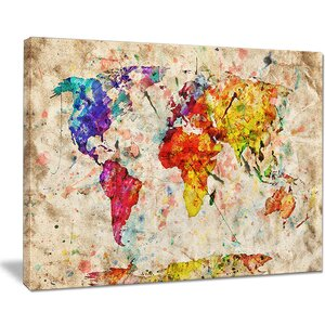'Vintage World Map' Graphic Art on Wrapped Canvas by Design Art
