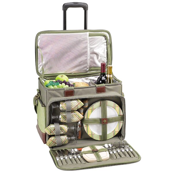 Cotton Canvas Picnic Cooler for Four with Wheels b