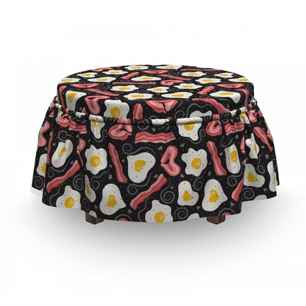 Yummy Protein Breakfast Ottoman Slipcover (Set Of 2) By East Urban Home