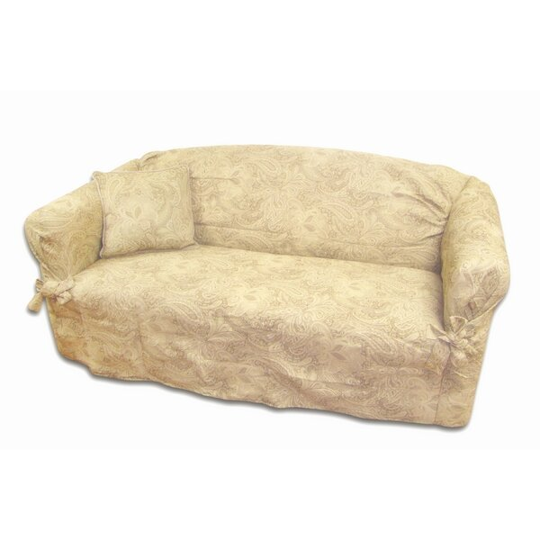 Earthtone Box Cushion Loveseat Slipcover by Textiles Plus Inc.