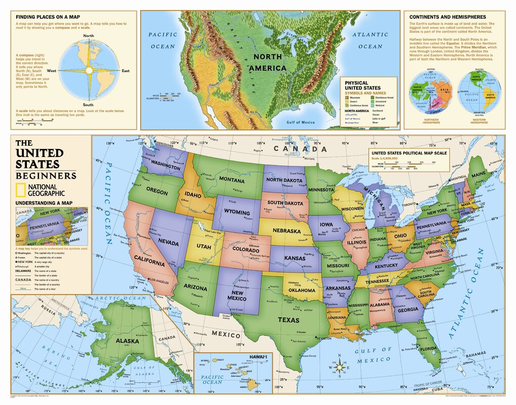 National Geographic Maps Kids Beginners USA Wall Map Grades K - Washington dc popout map