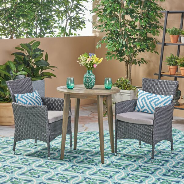 Bolebroke Outdoor 3 Piece Bistro Set with Cushions by Bungalow Rose