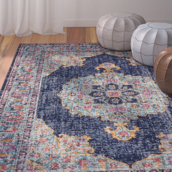 Ashburn Dark Blue Area Rug by Bungalow Rose