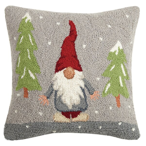 Mcbrayer Snowy Gnome Hook Wool Throw Pillow by The Holiday Aisle