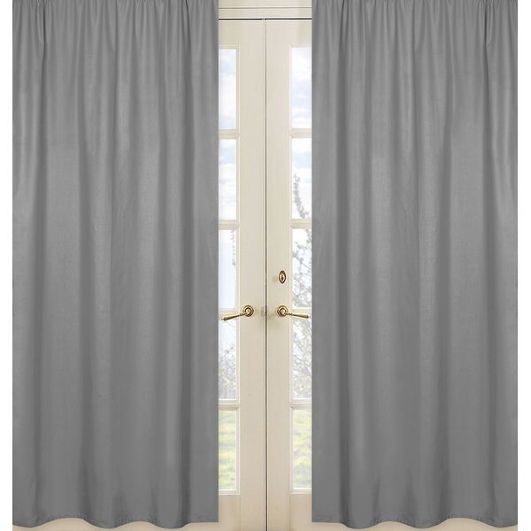 Stripe Collection Gray Solid Semi-Sheer Rod Pocket Curtain Panels by Sweet Jojo Designs