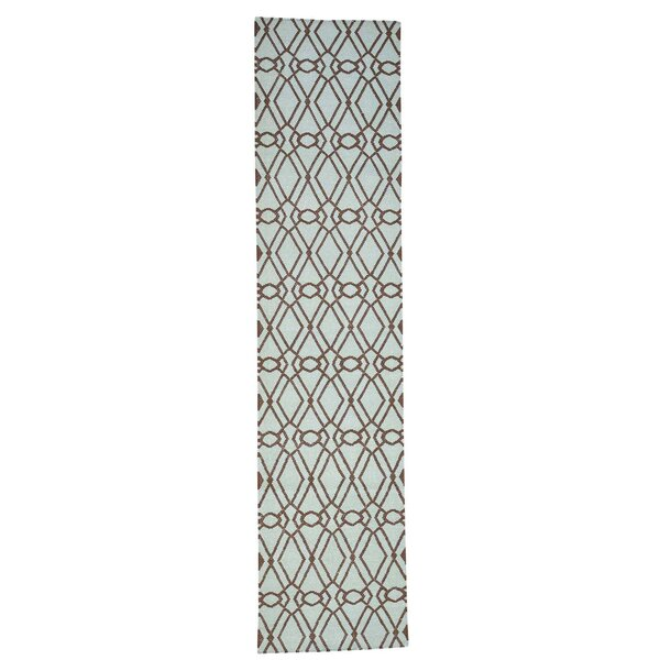 Durie Kilim Reversible Hand-Knotted Chocolate Brown/Light Green Area Rug by House of Hampton
