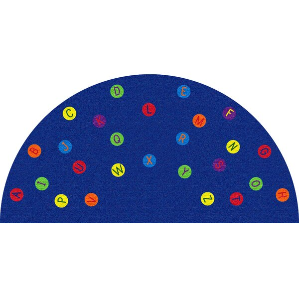 Alphabet Dots Blue Semicircle Area Rug by Kid Carpet