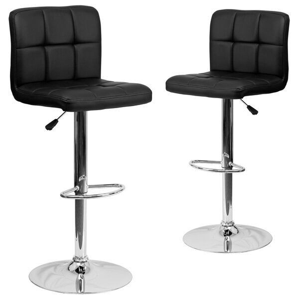 Leonardo Adjustable Height Swivel Bar Stool (Set of 2) by Wrought Studio