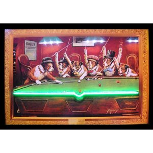 Bar & Game Room Dogs Playing Pool Neon LED Framed Vintage Advertisement by Neonetics