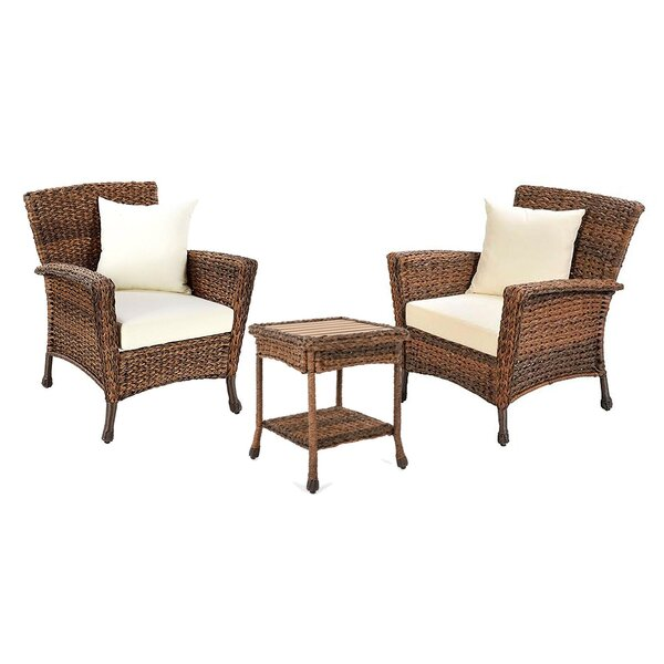 Greta 3 Piece Rattan Seating Group with Cushions by Bayou Breeze