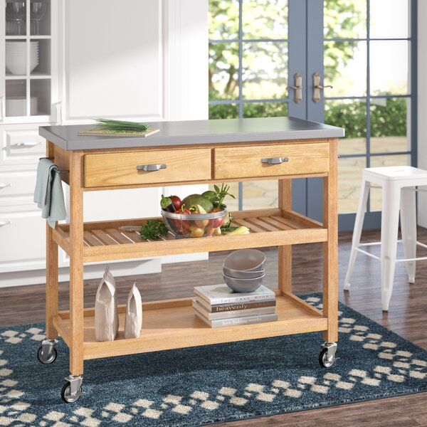 Drumtullagh Kitchen Cart with Stainless Steel Top by Alcott Hill