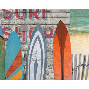 'Surf Shop' Painting Print Art on Wood by Red Horse Arts