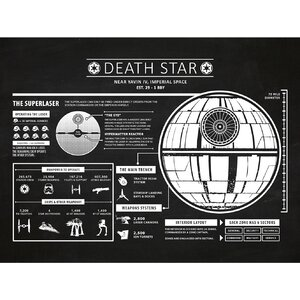 Sci-Fi and Fantasy 'Star Wars Death Star Infographic' Silk Screen Print Graphic Art in Chalkboard/White Ink by Inked and Screened