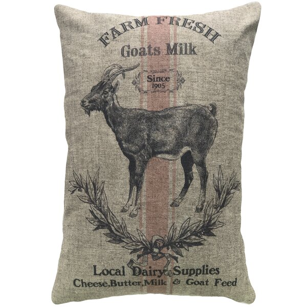 Mcarthur Goat Farm Linen Throw Pillow by Gracie Oaks