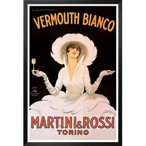 'Vermouth Bianco Martini and Rossi' by Marcello Dudovich Framed Vintage Advertisement by Buy Art For Less