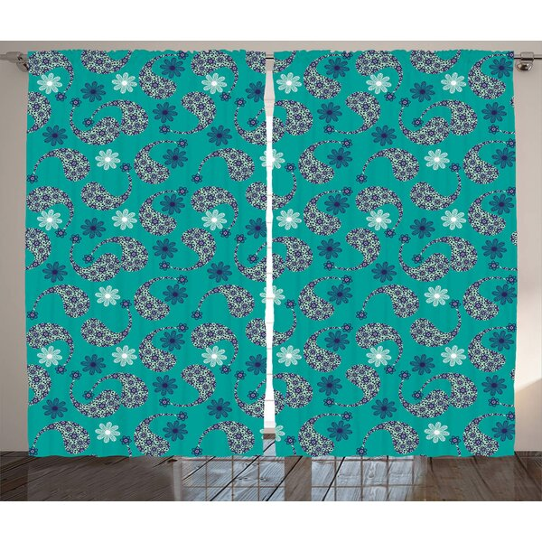 Floral Decor Room Darkening Rod Pocket Curtain Panels (Set of 2) by East Urban Home