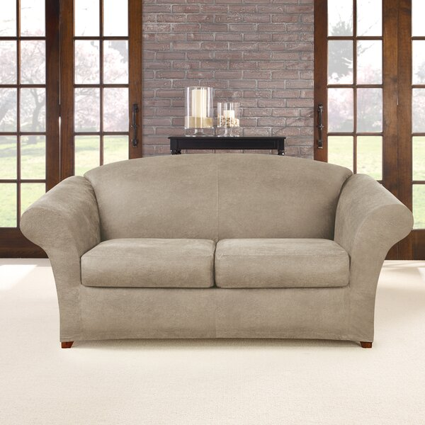 Ultimate Heavyweight Stretch Leather 3 Piece Box Cushion Loveseat Slipcover Set