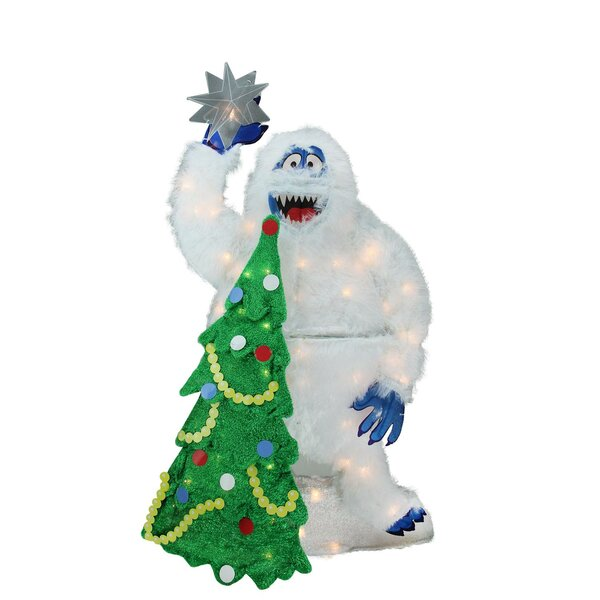 Faux Fur Bumble with Tree and Star Christmas Lighted Display by The Holiday Aisle