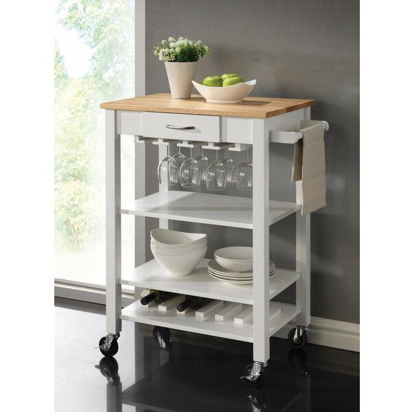 Laba Rubberwood Kitchen Cart by August Grove