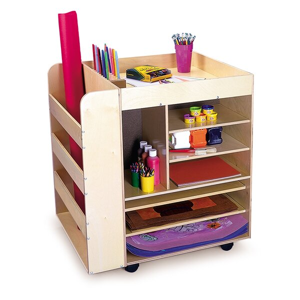 Double Sided 7 Compartment Teaching Cart with Casters by Whitney Brothers