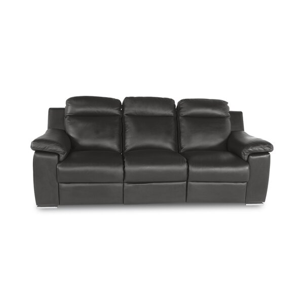 Scottsboro Genuine Leather Reclining 89'' Pillow Top Arm Sofa