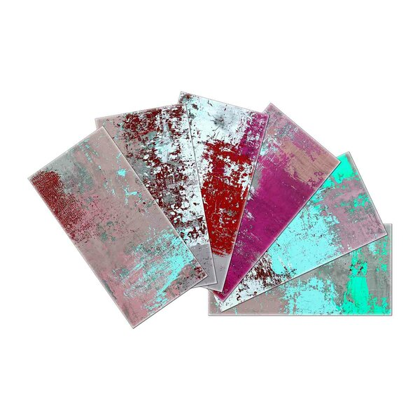 Crystal Skin 3 x 6 Glass Subway Tile in Pink/Green by SkinnyTile