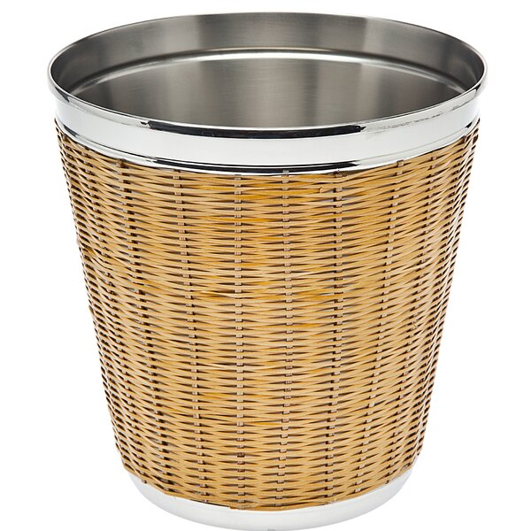 Rattan and Stainless Steel Double Wall Champagne Bucket by Godinger Silver Art Co