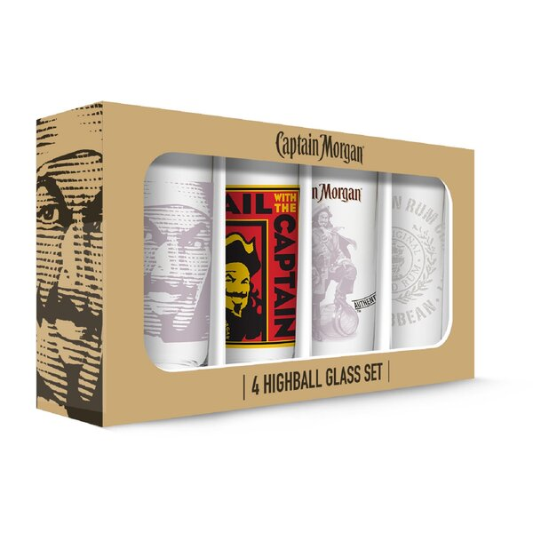 Captain Morgan 16 oz. Highball Glasses (Set of 4) by PB